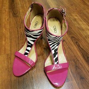 CATO Pink & Zebra Print Heels